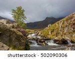 mountain stream on stormy day ...