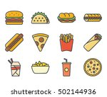 fast food set icon colored  | Shutterstock .eps vector #502144936