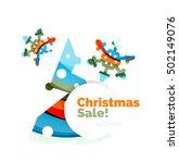geometric christmas sale or... | Shutterstock .eps vector #502149076