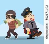 fat police sleeping thief easy... | Shutterstock . vector #502171192