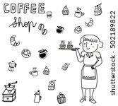 cute waitress serving coffee... | Shutterstock .eps vector #502189822