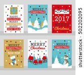 set of six merry christmas... | Shutterstock .eps vector #502202095