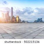 empty floor and modern city... | Shutterstock . vector #502215136