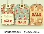 christmas sale tags in retro... | Shutterstock .eps vector #502222012
