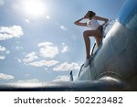 the girl in shorts costs on a... | Shutterstock . vector #502223482