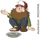 homeless beggar | Shutterstock .eps vector #502224436