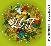 cartoon doodles hand drawn 2017 ... | Shutterstock . vector #502226035