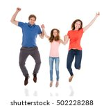 happy family jumping together... | Shutterstock . vector #502228288