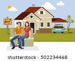 young couple outside their new... | Shutterstock .eps vector #502234468