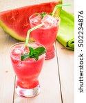 watermelon drink in glasses | Shutterstock . vector #502234876