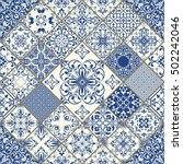 seamless patchwork tile in blue ... | Shutterstock .eps vector #502242046