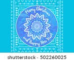 greeting blue card happy new... | Shutterstock .eps vector #502260025