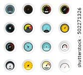 speedometer icons set. flat... | Shutterstock .eps vector #502271326