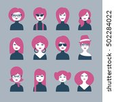 fashion woman icon. set of 12... | Shutterstock .eps vector #502284022