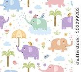 cute elephants seamless pattern....   Shutterstock .eps vector #502299202