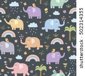 funny elephants seamless... | Shutterstock .eps vector #502314355
