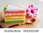 slice of rainbow cake ... | Shutterstock . vector #502332106