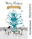 christmas card with water tree. ... | Shutterstock .eps vector #502376572