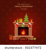 christmas fireplace room... | Shutterstock .eps vector #502377472