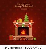 christmas fireplace room... | Shutterstock .eps vector #502377472