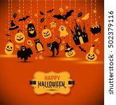 halloween banner on orange... | Shutterstock .eps vector #502379116