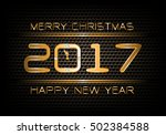 happy new year 2017 gold... | Shutterstock . vector #502384588