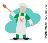 illustration merry cook with a... | Shutterstock .eps vector #502408942