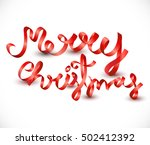 merry christmas red ribbon type ... | Shutterstock .eps vector #502412392