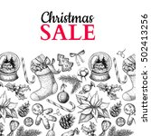 christmas sale banner. vector... | Shutterstock .eps vector #502413256
