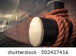 Bollard With Mooring Ropes. Th...