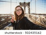 beautiful hipster girl in... | Shutterstock . vector #502435162