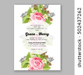 romantic pink rose bridal... | Shutterstock .eps vector #502437262