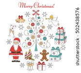 christmas and new year holiday... | Shutterstock .eps vector #502438576