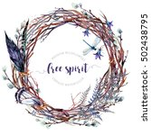 watercolor boho wreath made of... | Shutterstock . vector #502438795