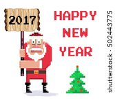 wooden sign and pixel art santa.... | Shutterstock .eps vector #502443775