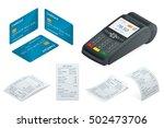 pos terminal  debit credit card ... | Shutterstock .eps vector #502473706