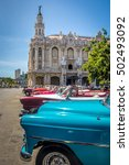 cuban colorful vintage cars in... | Shutterstock . vector #502493092