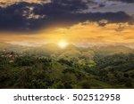 doi mea sa long at sunset ... | Shutterstock . vector #502512958