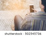 blurry man chatting and sitting ... | Shutterstock . vector #502545736