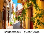 beautiful street with colorful... | Shutterstock . vector #502549036