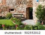 Bench with a medieval wall in the city of Wiener Neustadt in Austria