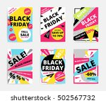 flat design black friday sale... | Shutterstock .eps vector #502567732