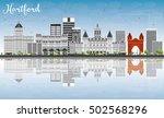 hartford skyline with gray... | Shutterstock . vector #502568296