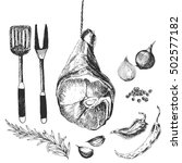 vector meat steak sketch... | Shutterstock .eps vector #502577182