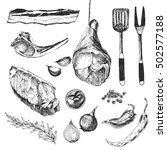 vector meat steak sketch... | Shutterstock .eps vector #502577188
