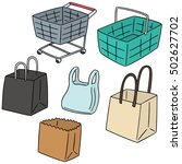 vector set of cart  basket ... | Shutterstock .eps vector #502627702