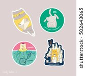 funny motives in stickers set... | Shutterstock .eps vector #502643065