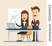 male and woman works together ... | Shutterstock .eps vector #502644415