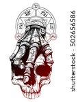 the hand holds a skull  the... | Shutterstock .eps vector #502656586