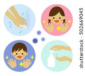 hand washing with water and... | Shutterstock .eps vector #502669045